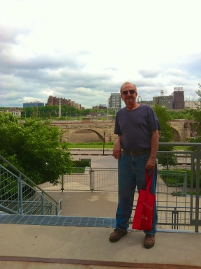 Dad by the Stone Arch Bridge sporting his Target swag
