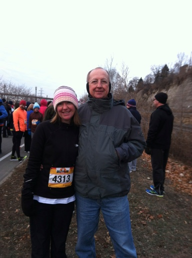 Before the race with Dad (Mom wanted to avoid the early hour and the cold)