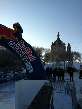 The finish -- sponsored by Red Bull.