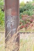 Bridge pillar and chalk drawing