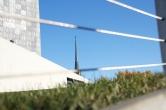 Sky Pesher entrance, church spire beyond