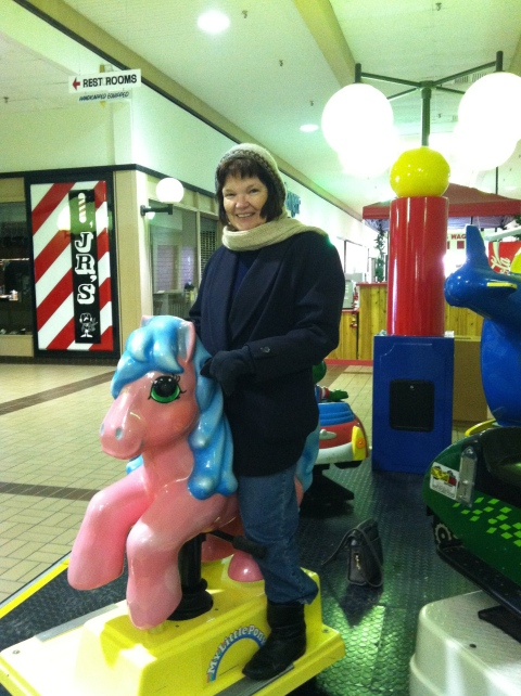 Mom on pink pony