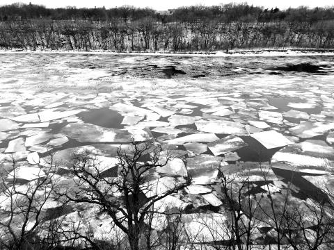 Broken up river